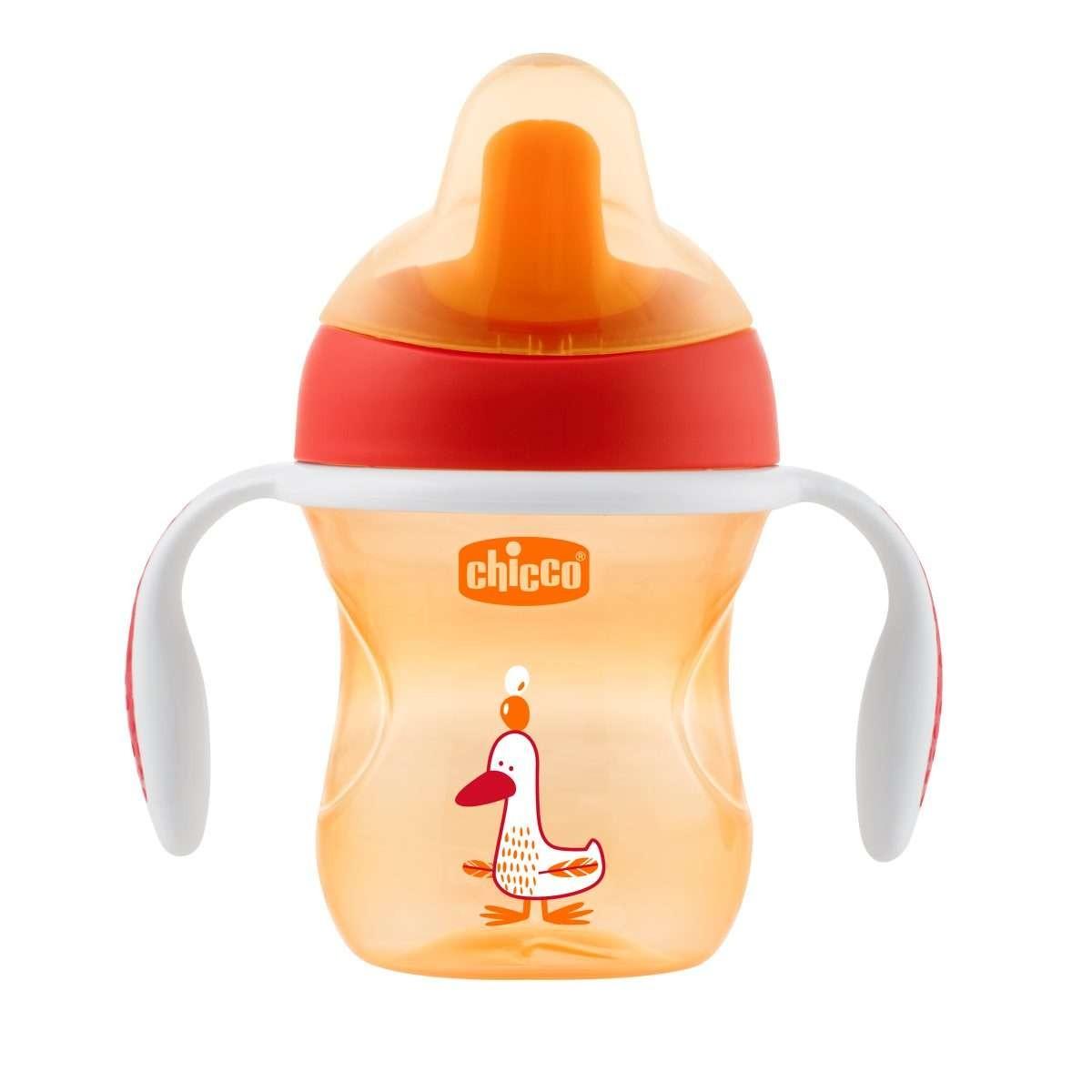 Chicco hrnček trénujeme s držadlami 200 ml, 6m+ - oranžový