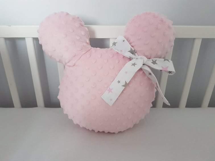 Handmade Mickey vankúšik minky ružový s bielou mašľou