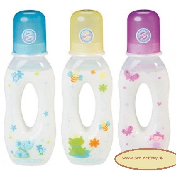 BABY NOVA Dojčenská fľaša SLZA 250 ml, plast, tvarovaná ružová