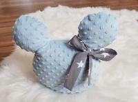 Handmade Mickey vankúšik minky modrý so sivou mašľou