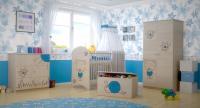 BabyBoo Detská komoda - Macko kvietok modrý