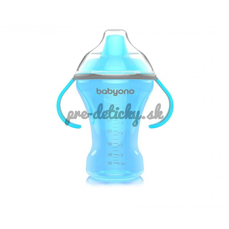 BabyOno Hrnček netečúci s tvrdým náustkom NATURAL NURSING 260ml modrý