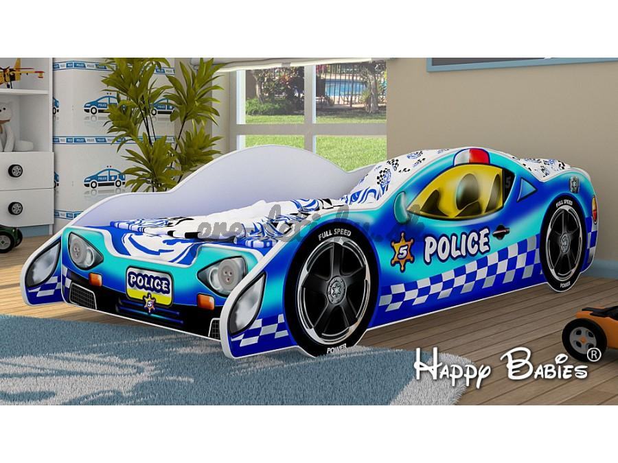 Happy Babies Detská postieľka AUTO ZENITH POLICE +MATRAC