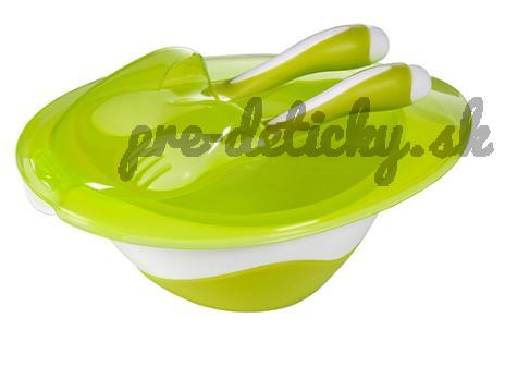 Baby Ono Miska s lyžičkou a vidličkou - zelená 1064