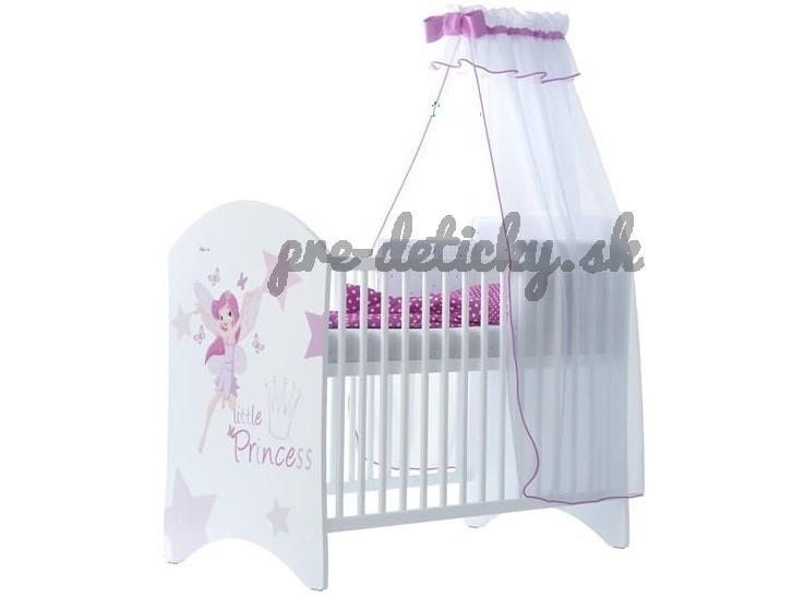 BabyBoo Detská postieľka LUX s motivom Little princess, 120 x 60 cm