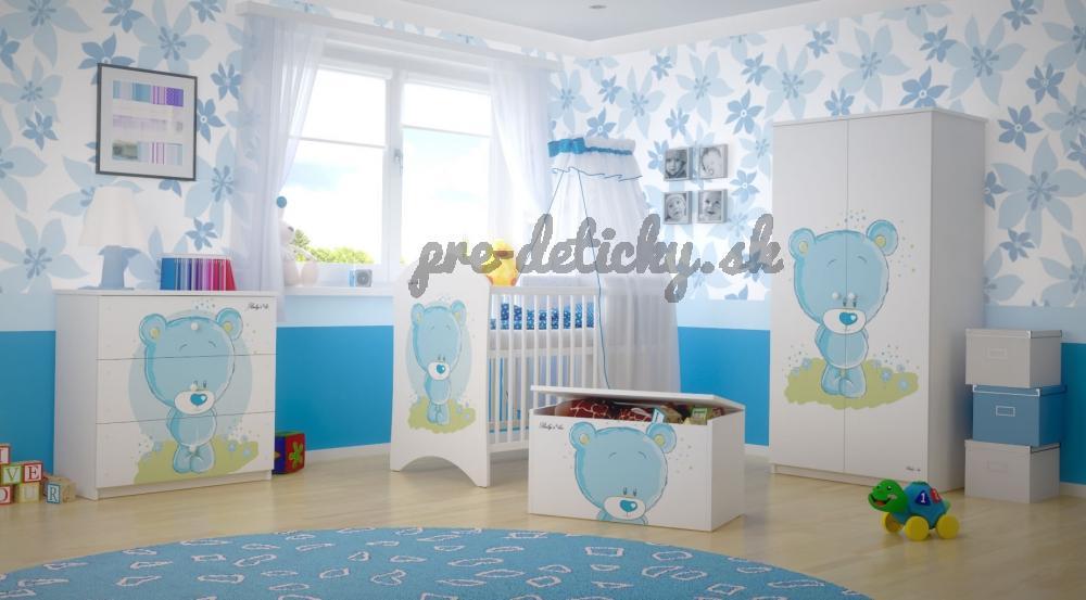 BabyBoo Detská postieľka Medvedik STYDLÍN modrý - 120x60cm