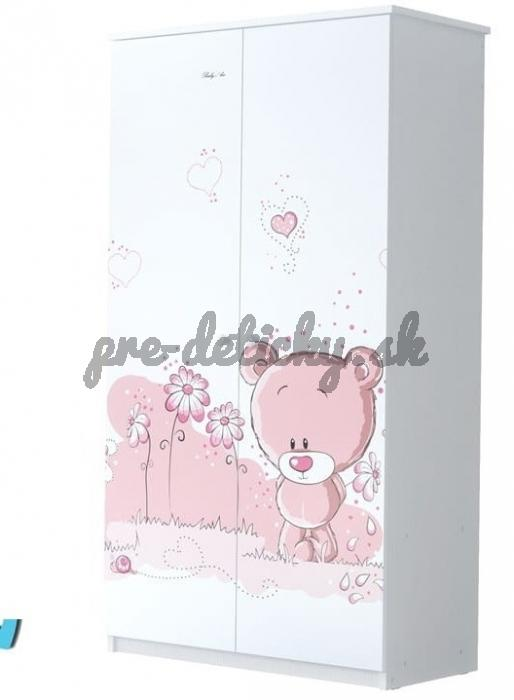 Babyboo Detská skriňa - Macko - ružová