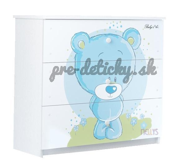 BabyBoo Detská komoda - Medvedík STYDLÍN modrý