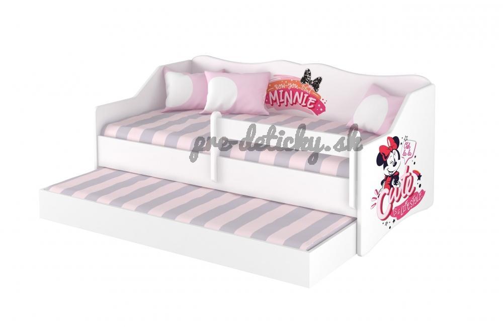 Babyboo Detská posteľ LULU 160 x 80 cm - biela Minnie Cutie