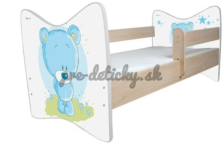 BabyBoo Detská postieľka Medvedik STYDLÍN modrý - 140x70 cm