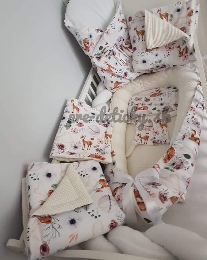 Handmade set do postieľky srnka s vyšitým menom vášho dieťaťa