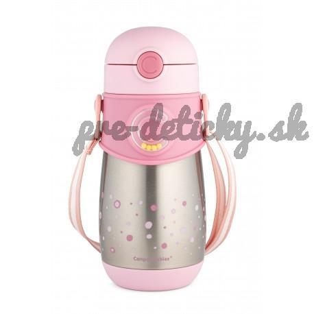 Canpol termohrnček so slamkou 300 ml ružový