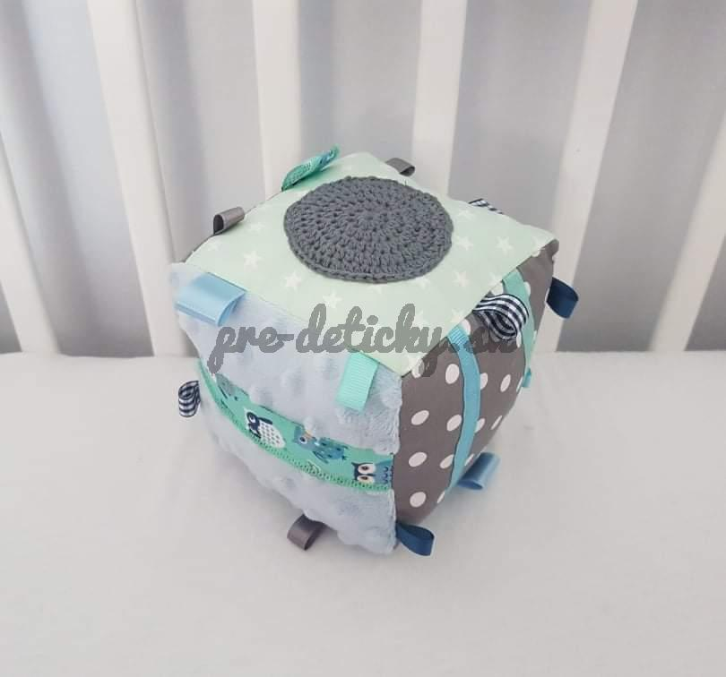 Handmade textilná kocka modrá
